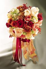 Hand-Tied Bridal Bouquet with Silk Ribbons, Roses...
