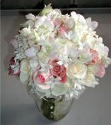 Hand-Tied Bridal Bouquet, Pink and White Roses, Blush Dendrobium Orchids, Stephanotis with Pearls...