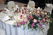 Head Table Fresh Flower Arrangement, Dendrobium Orchids, Daisies, Roses, Springerii...