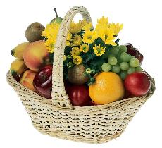 All Fruit Basket with Chrysanthemum Plant